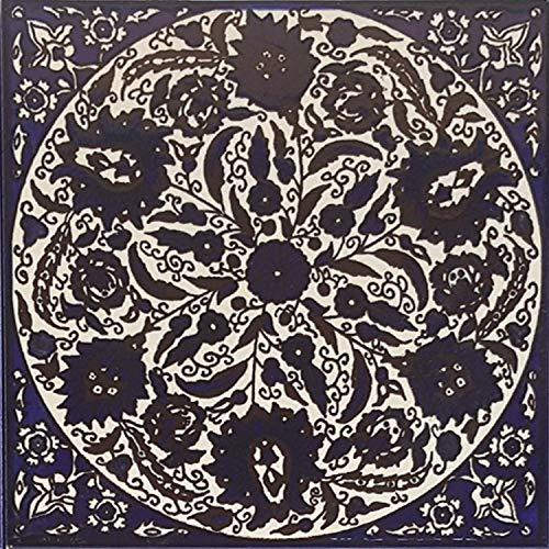 Casa Moro Baldosa oriental Isa-7 pintada a mano, 14,8 x 14,8 cm, artesanía palestina, azulejos de pared para hermosa cocina, ducha, baño, decoración   FL8307