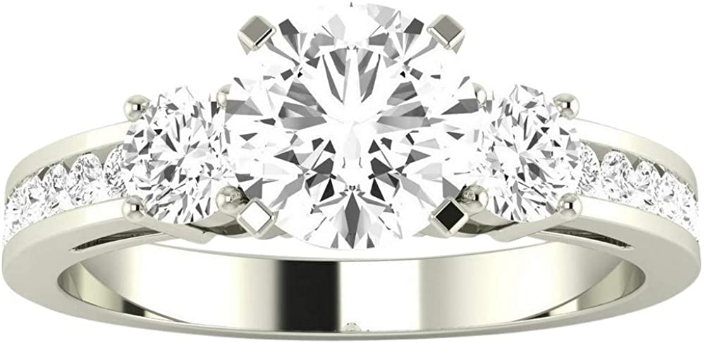 14K Ranking TOP5 White Gold 2.25 Carat LAB CERTIFIED DIAMOND Channe GROWN IGI OFFicial store