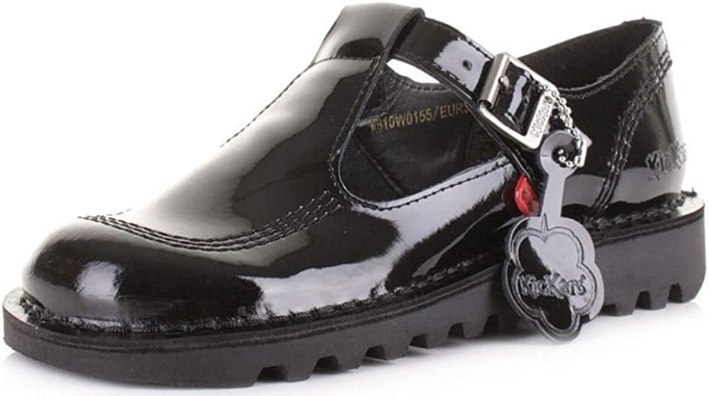 --Kickers Kick Lo Black Patent Leather Kids Mary Janes School Shoes