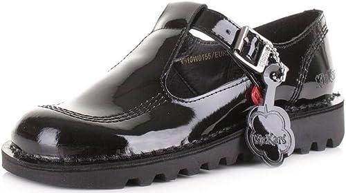 Kickers Lo Noir Patent Cuir des Gamins Mary Janes Janes Ecole Chaussures  haute qualité authentique