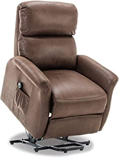 BONZY Recliner Classic Power Lift Chair Soft and Warm Fabric with with Remote Control for Gentle Motor, Size: 32