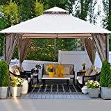 Gazebo for Patios 10x10 ft Square Tent Double Roof Tops with Curtain Screens for Outdoor Patio...