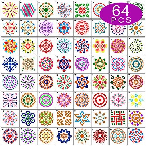 Max Fun 64 Stück Mandala Dot Malvorlagen Schablonen für Kinder & Erwachsene zum Selbermachen Holz Wandmalerei Kunst Projekte, 9 x 9 cm wiederverwendbar