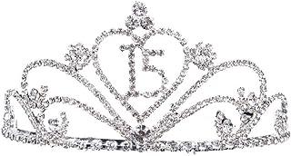 Amosfun Diamantes de Imitación de Cristal Mujeres 15 Cumpleaños Tiara Corona 15 Cumpleaños Aniversario de Bodas Regalo de ...