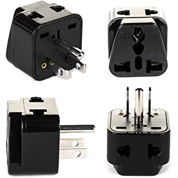 RoHS Compliant VCT VP7 Adapter Plug for USA Plug Converts Europe//German//Asian Round Pin Plugs to American Plug