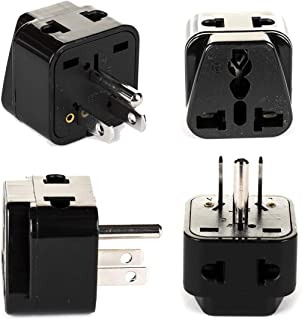 USA, Canada Adapter Plug by OREI, Europe, UK, China to US American Adaptor - Grounded - Type B - Universal Socket - EU to US - 4 Pack