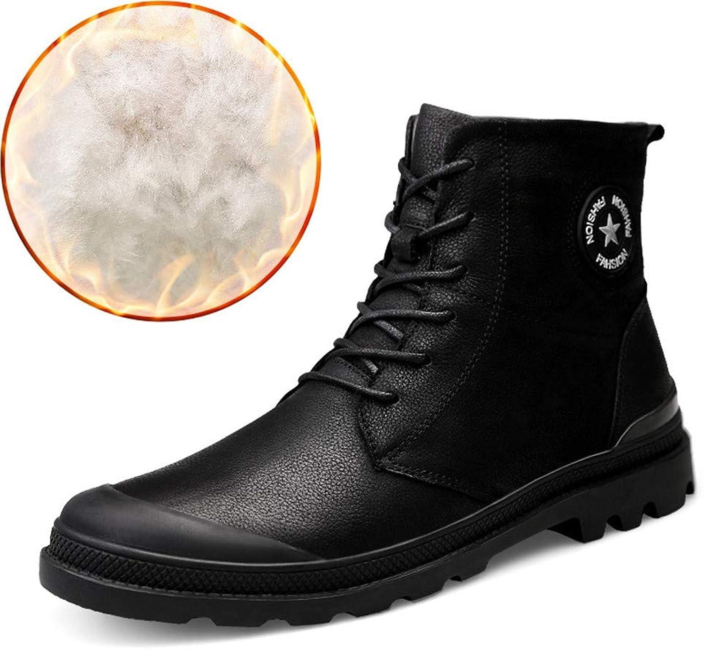 Men's Martin Boots, Winter Cotton shoes Army Boots Men's High Boots Men's shoes Suede Warm Footwear (color   B, Size   41)