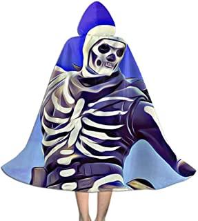 MakeHappy Kids Hooded Cloak Cape for Halloween Cosplay Costumes,Skull Trooper and Skull Ranger Battle Royale Design