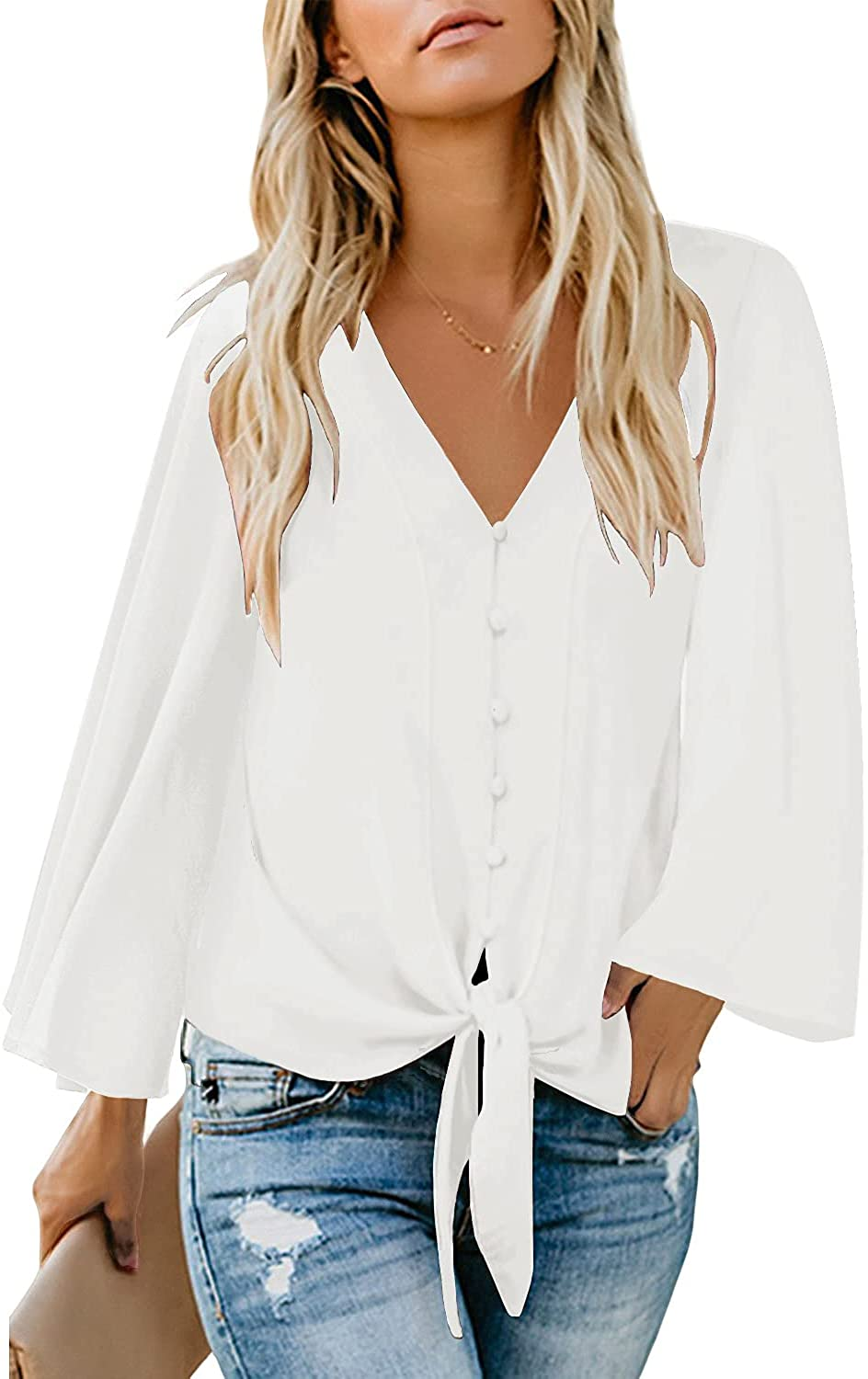 luvamia Women's V Neck Button Limited price Down Long Tie Sleeve Casual Shirts Clearance SALE Limited time