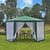 Outsunny Carpa Gazebo Tipo Cenador Hexagonal con Mosquitera para Jardín y Terraza φ3.9m Material de Poliéster Repelente al Agua (Verde)
