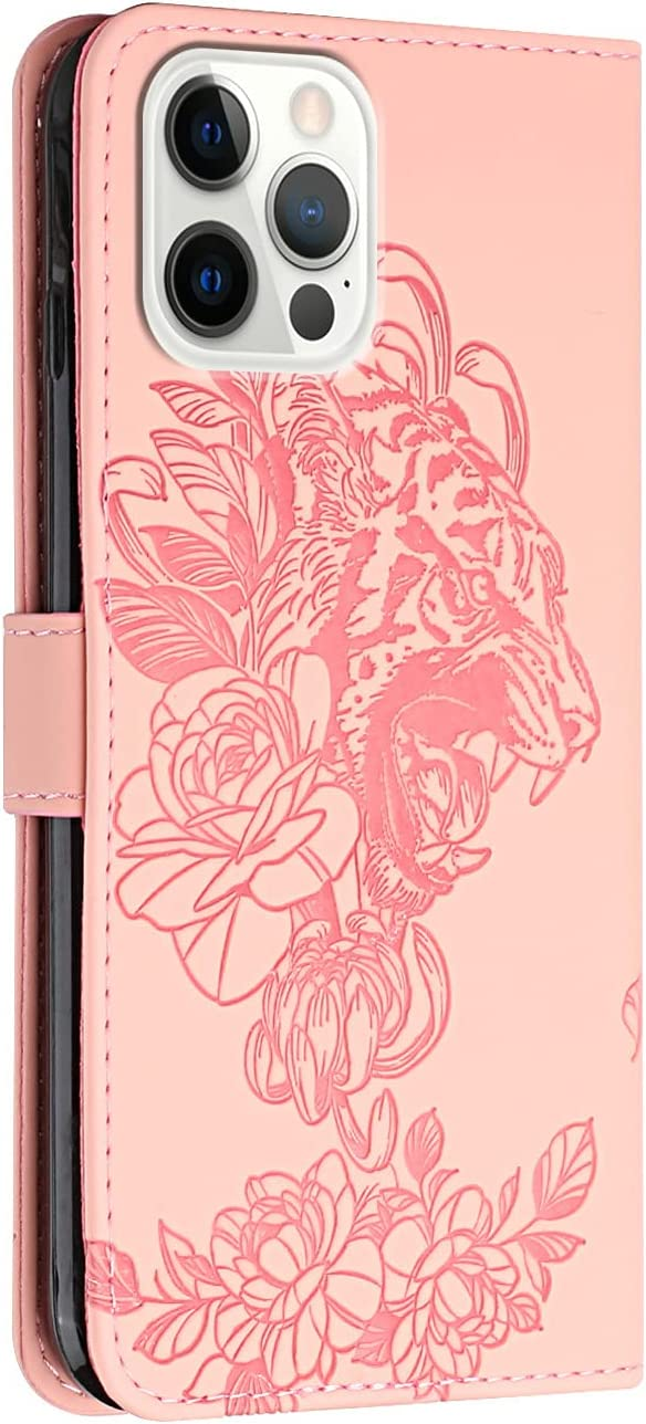 Crossbody Phone Case for iPhone 12 Pro Max, 2 in 1 Tiger Embossed Shockproof Slim PU Leather Wallet Phone Cover TPU Bumper Flip Protective Neck Strap Case with Lanyard, Pink
