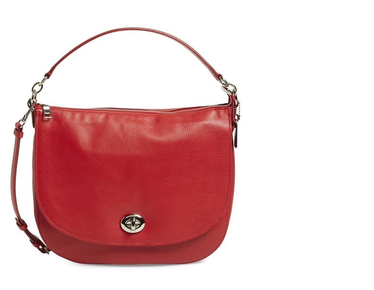 眠っている厳持参【コーチ】COACH Turnlock Leather Hobo レザー ホーボー 女性用 5037872 (並行輸入品) TOVALLEY (True Red)