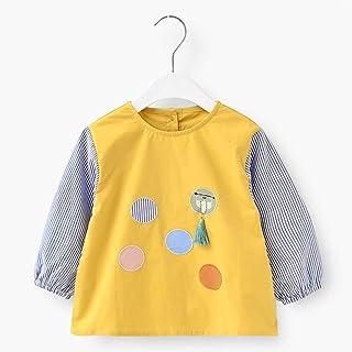 0-4 Years Old Baby Waterproof Long-sleeved Bib Children Cotton Long-sleeved Anti-dressing Clothing Bib Unisex Baby Bibs (C...