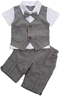 Feidoog Baby Summer Baby Boys Gentleman Formal Short Sleeve Outfits Suits Bow Ties Shirts Vest Pants Toddler Clothes Sets