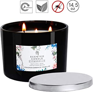 ycyh Citronella Candles Scented 3 Wick, Giant 1lb Soy Wax, Glass Jar 14.5 oz, 80 Hour Burn, Outdoor and Indoor