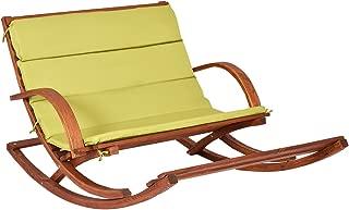 Giantex Patio Wood 2 Person Rocking Lounge Chair Wood Slat Porch Furni W/Green Cushion