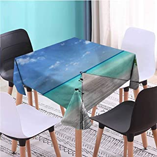 Zara Henry Design Tropical Decorative Square Tablecloth,Long Wooden Jetty Maldives Coffee Table Cloths, W45 x L45 Inch