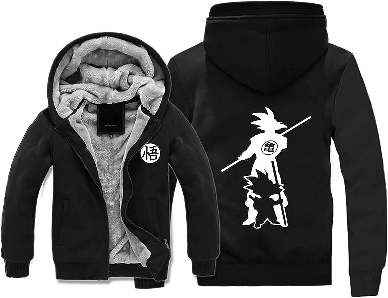 Anime Dragon Ball Goku Winter Workout Fleece Hoodie Jackets Full Zip Wool Warm Thick Coats Black
