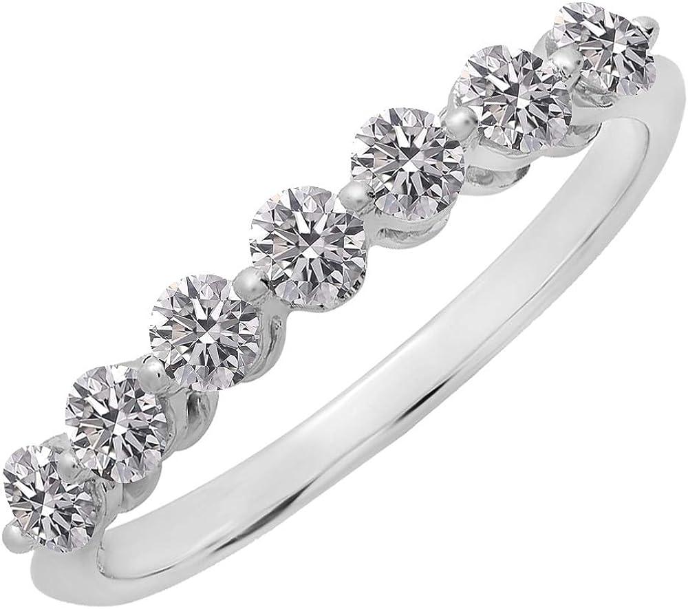 Dazzlingrock Collection 0.50 Carat (ctw) 14K Gold Round Lab Grown Diamond Ladies 7 Stone Wedding Band Ring 1/2 CT