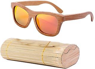 lzndeal - Occhiali da sole in legno di bambù, unisex, lenti polarizzate protettive, con custodia