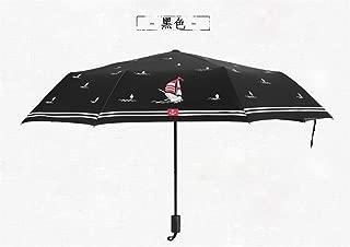 AUWANGAOFEI Creative Sailing Three Folding Umbrella UV Sunshade (Color : Black, Size : 53.5x8k)
