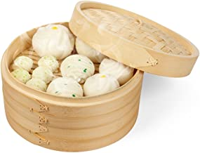 Flexzion Bamboo Steamer Basket Set (10 inch) with 50x Steamer Liners and 2 Pairs of Chopsticks, Chinese Steamer for Cooking Food