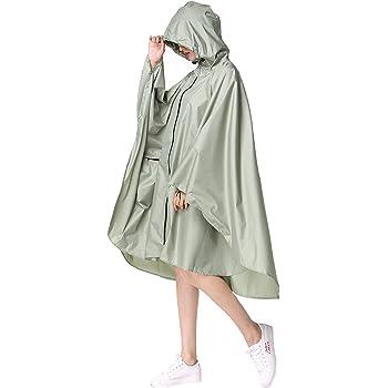 Womens Rain Poncho Stylish Polyester Waterproof Raincoat Free Size with Hood Zipper Styles