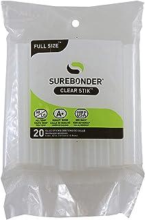 """Surebonder DT-20 Made in the USA All Purpose Stick Glue Sticks-All Temperature-Clear-7/16"""" D, 4"""" L Glue Stick-20 Sticks per Bag"""