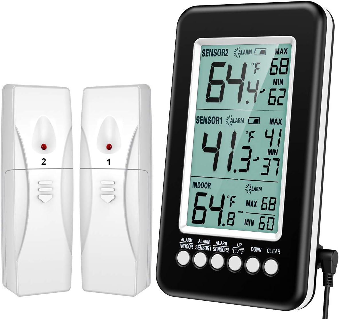 favorite KeeKit Refrigerator Thermometer Wireless Thermo Freezer Digital Max 62% OFF