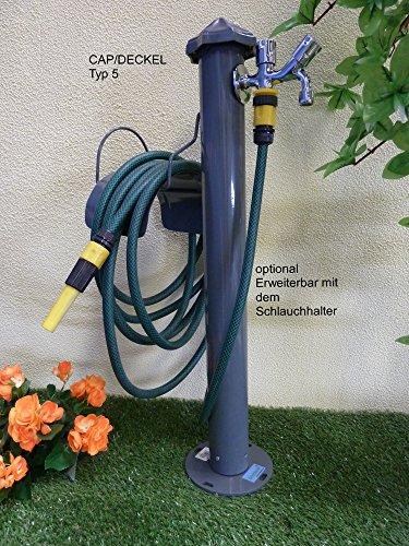 Wassersäule STAHL - Pulverbeschichtet 100cm RUND - in 5 FARBEN, mit wählbaren CAP/DECKEL (CAP/DECKEL TYP 1, GRAU)