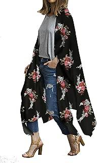 Women's Sheer Chiffon Blouse Tops Kimono Cardigan Floral Loose Cover Ups Outwear Plus Size