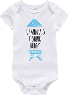 4bd437236 WINZIK Baby Boy Girl Bodysuit Romper Outfit Grandpa's Fishing Buddy Infant  One-Piece Jumpsuit Creeper