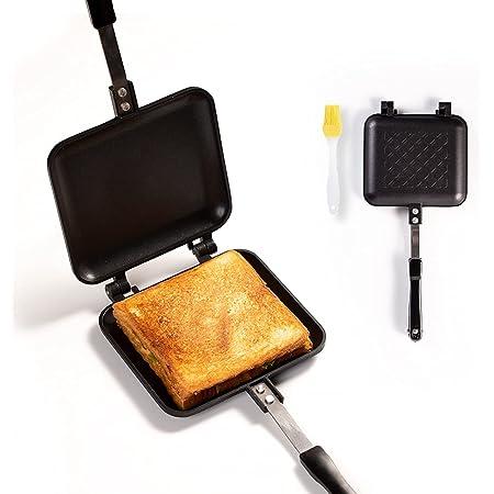 ホットサンドメーカー 直火式 焼き目なし ホットサンドパン 両面焼き フライパン トースターパン 上下取り外し可能 焼き目がサクサク 耳まで焼ける 焦げ付きにくい 丸洗いOK お手入れ簡単 家庭 アウトドア キャンプ用 2枚のフライパン INS-JUKE