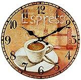 perla pd design Wanduhr Küchenuhr Vintage Design Espresso ca. Ø 28 cm