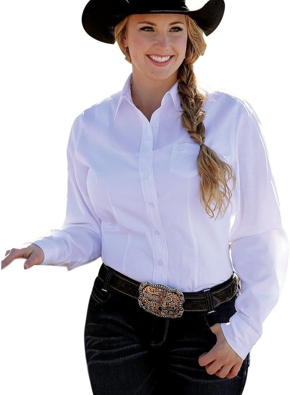 Cinch Western Shirt Womens L S Weave Pocket Button XS White MSW9164026