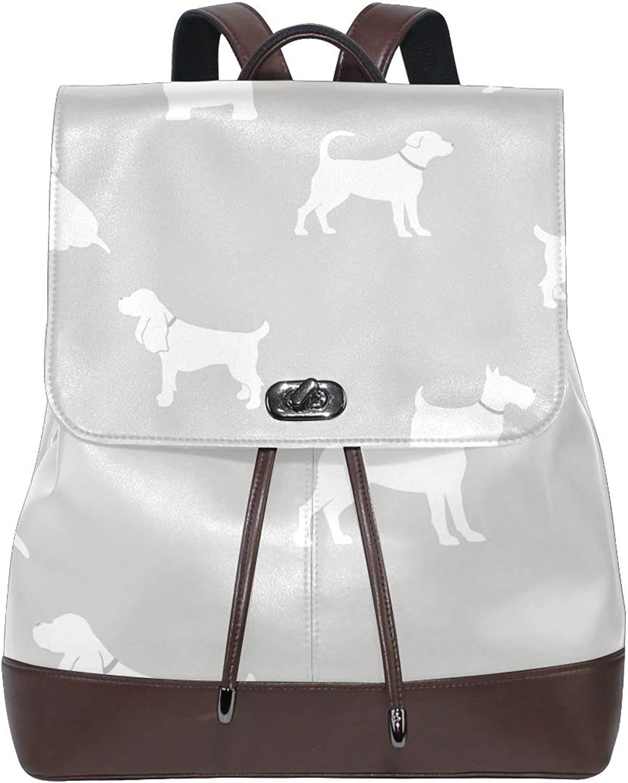 FAJRO Pooch Grey Dogs Mica Effect Wallpaper Travel Backpack Leather Handbag School Pack
