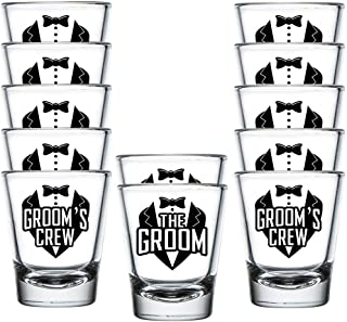 Shop4Ever The Groom and Groom's Crew Shot Glasses ~ Bachelor Party Favors ~ (12 Pk, Groom's Crew)