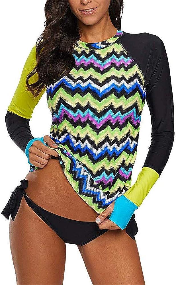 BeneGreat Womens Long Sleeve Vibrant Print Rashguard Shirt Side Ties Color Block Tankini Swimsuit