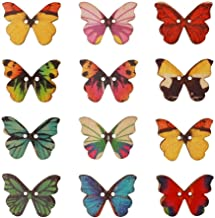 pengxiaomei 100 Pieces Mixed Colours 2 Holes Butterfly Wooden Buttons, Wood Craft Clothes Buttons, Decorative Craft Button...