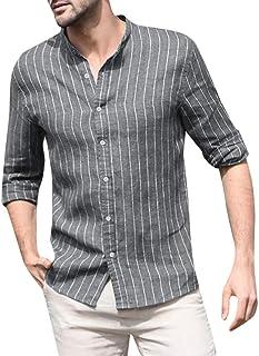 HX fashion Camisa De Lino Algodón De Holgada De Para Hombre Tamaños Cómodos Camisa A Rayas De Manga Larga Top Retro Camise...