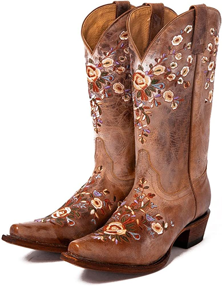 Mikarka Womens Retro Floral Embroidered National Style Pointed Toe Western Cowboy Mid Calf Boots