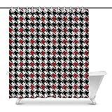 FANCYDAY Abstrakter schwarzer & roter Hahnentritt-Haus-Dekor-Duschvorhang für das Badezimmer Dekorativer Badezimmer-Duschvorhang-Satz mit Ringen