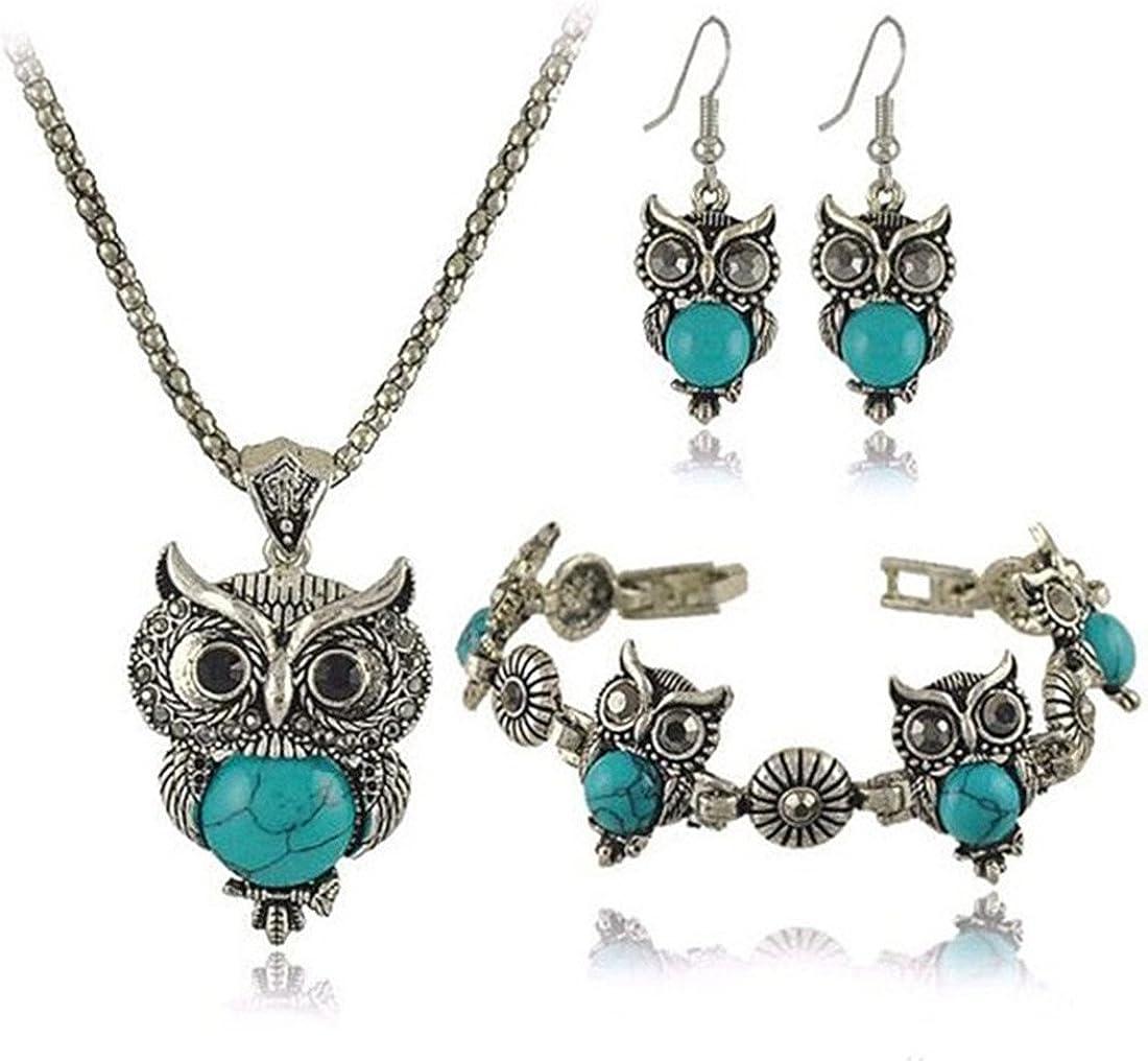 VWH 3 Pcs Set Retro Turquoise Owl Bracelet Earrings Necklace Jewelry Set,Blue