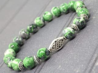 Bracciale etnico Zen da donna con perle di giada ricostituite verde e nera e perle tibetane