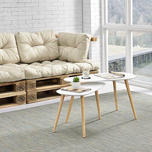 [en.casa] Lot de 2 Tables Basses de Taille Différente Design de Salon MDF Pin 45,5 x 80 x 40 cm et 40,5 x 68 x 36 cm Blanc Mat Couleur Naturelle