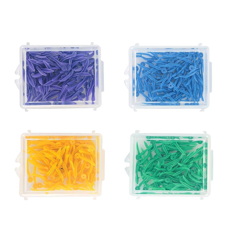 たらい匿名入り口400pcs使い捨て歯科用プラスチック製くさびすべての4つのサイズウェーブシェイプウェッジ