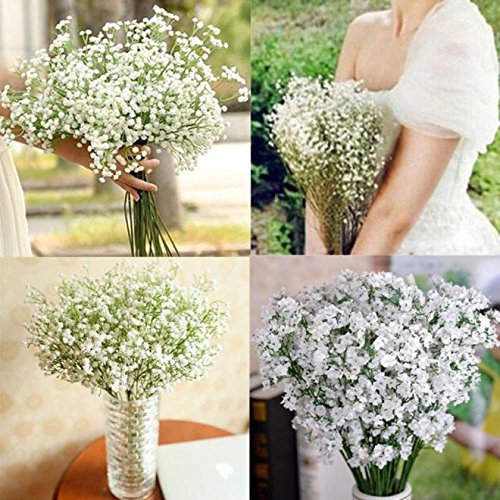 Artificial Gypsophila,Artificial Gypsophila Flower Fake Silk Wedding Party Bouquet Home Decor Floral Wedding Bouquet Bridal Hydrangea Festival Gift DIY Party Office Room Garden Home White