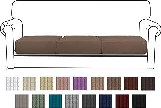 Easy-Going Stretch Cushion Cover Sofa Cushion Furniture Protector Sofa Seat Sofa slipcover Sofa Cover Soft Flexibility with Elastic Bottom(3-Piece Sofa Cushion,Camel)