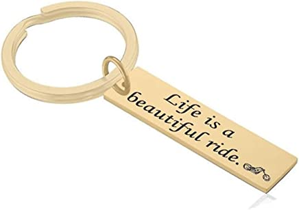 "AMdxd Stainless Steel Keychain for Men""Life is abeautiful Ride"" Silver Keychain Accessories"