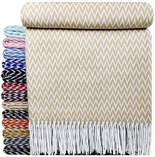 STTS International Baumwolldecke sehr weiches Plaid Wohndecke Kuscheldecke Baumwolle 140 x 200 cm Marbella Beige Zick-Zack